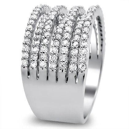 50ct Round Diamond Wedding Band Ring Wide Tail 14k White Gold