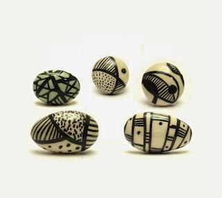 bague ceramique noir et blanc graphique createur lyon pilipok