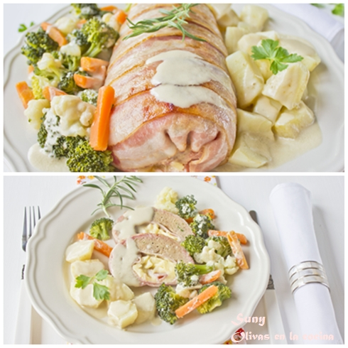 Rollo de carne al vapor con verduras y Salsa de champiñones