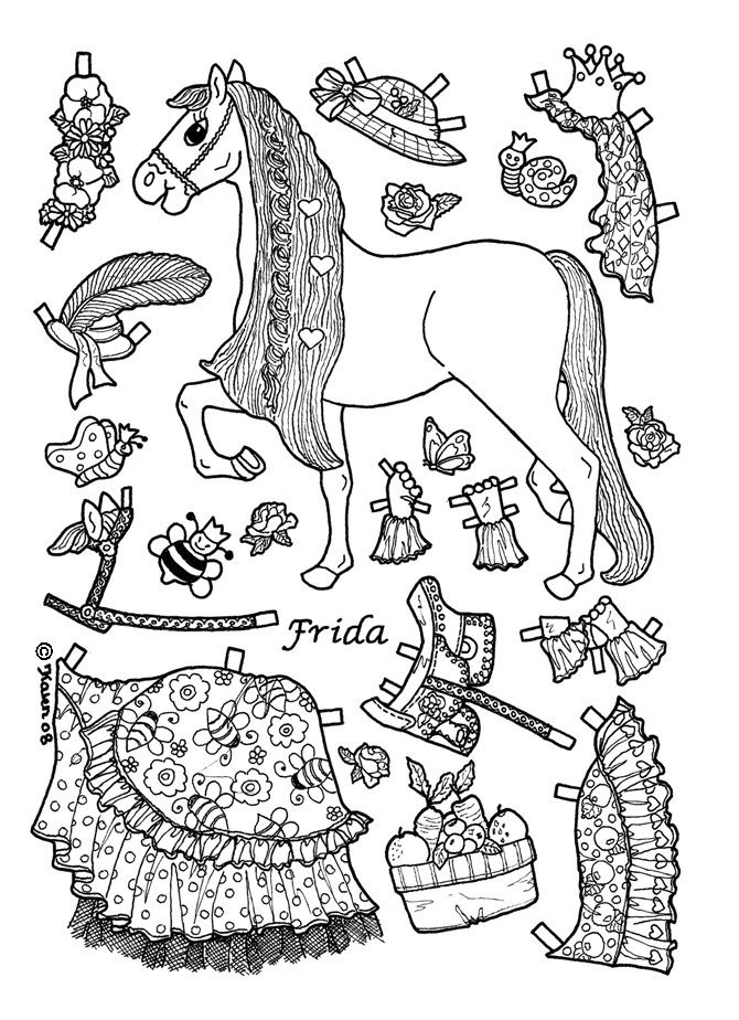 princess paper dolls coloring pages - photo#1