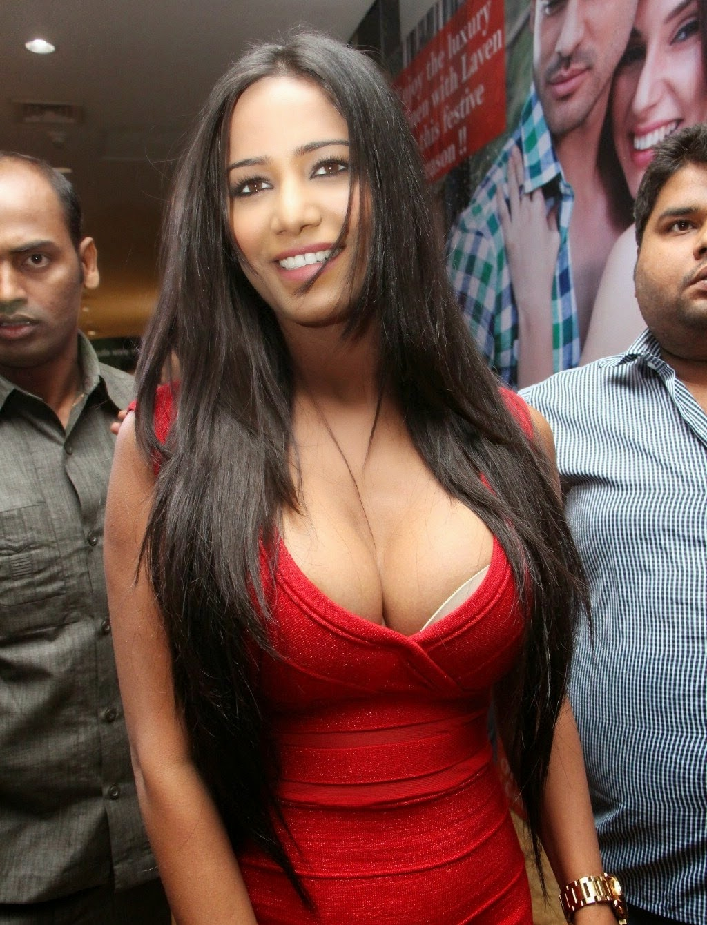 Poonam Pandey Sexy In A Low-Neck Red Dress At Telugu Film -7859