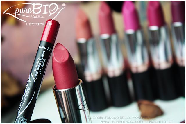 matita n 40 , lipstick n 07 ,  rossetti purobio , lipstick, vegan makeup, bio makeup