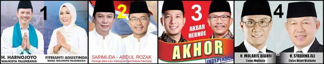 Empat pasang calon Walikota dan Wakil Walikota Palembang 2018