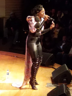 Mahogany Jones performing a set of hip hop.