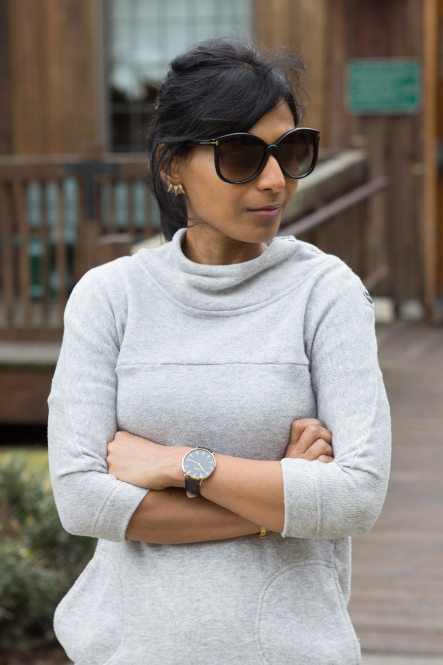 Grey cotton sweater, neutrals, minimalist watch, madewell bracelets, fitness