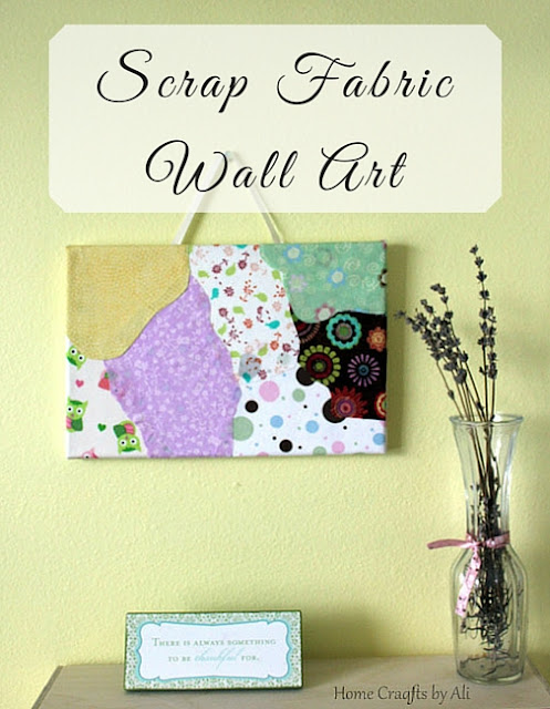 Make your own colorful wall art using scrap fabric decopodged on a canvas