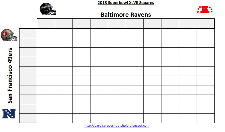 Excel Spreadsheets Help Printable Super Bowl Squares