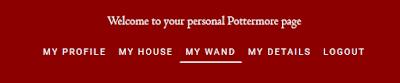 Menù nel profilo di Pottermore in data 03 febbraio 2016