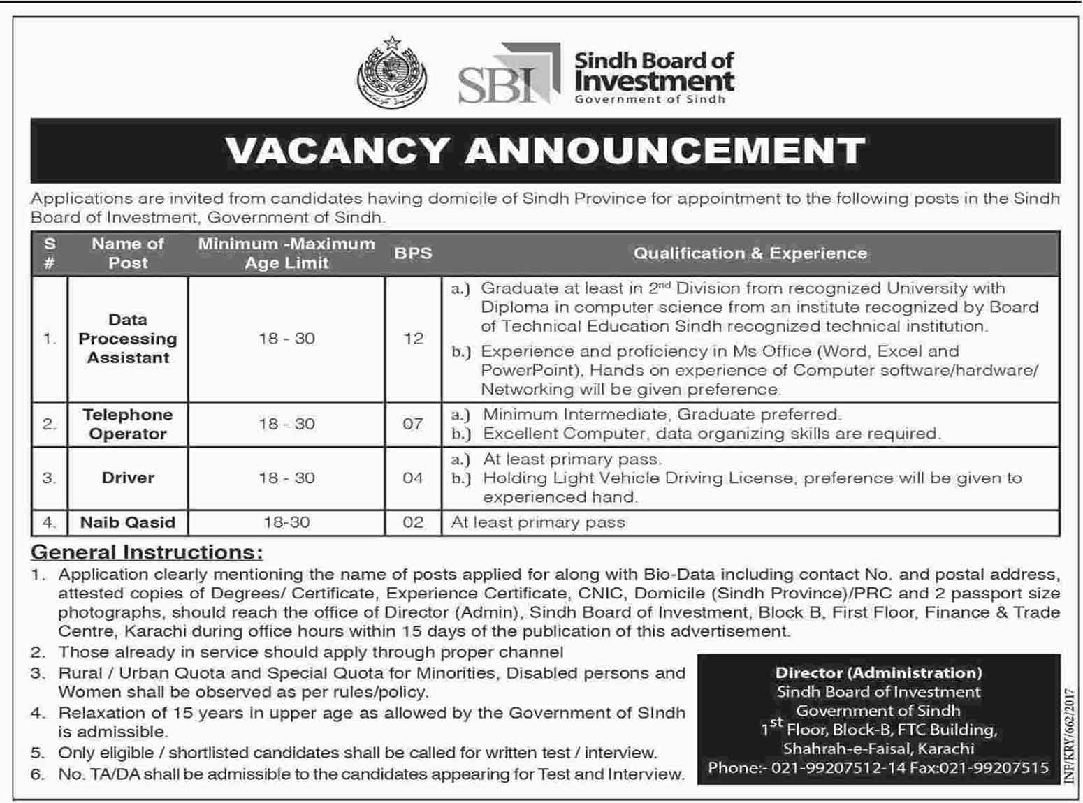 Sindh Board Of Investment Karachi Jobs 11 February 2017