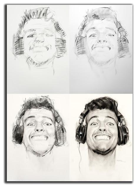 Fases del dibujo de retrato