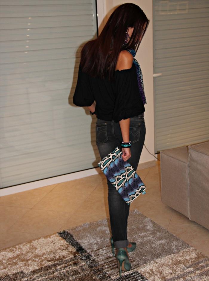 blue green snakeskin clutch, Bershka green snakeskin heels