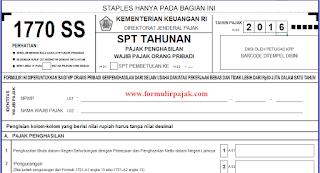 Formulir SPT Tahunan PPh Perorangan 1770 SS Excel