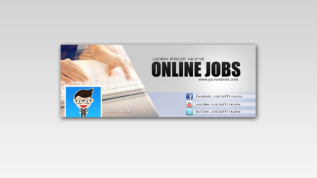 Download FREE PSD Facebook Timeline Cover design for Online Jobs Free for Personal and Commercial use