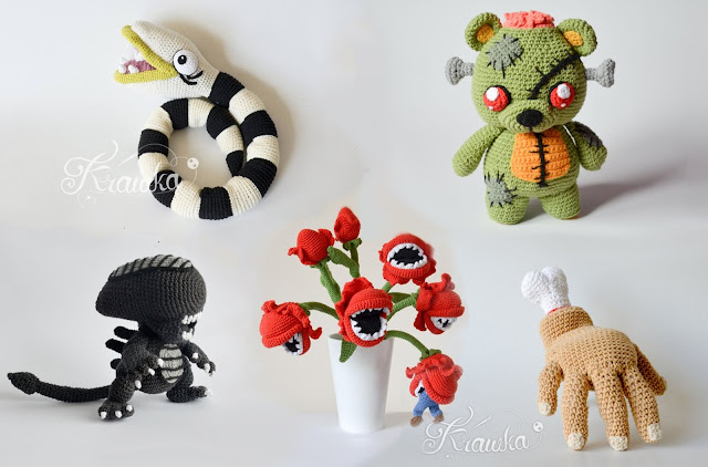 Krawka: TOP 5 Halloween patterns: Nightmare the snake, Frankie the zombie bear, The hand from Addams Family, Alien and Bouquet of man eating plants, crochet patterns by Krawka https://www.etsy.com/shop/Krawka?ref=seller-platform-mcnav