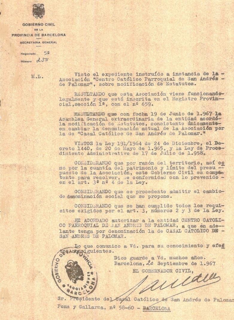 Escrito del Gobierno Civil, autorizando el cambio de nombre del Casal Catòlic de Sant Andreu