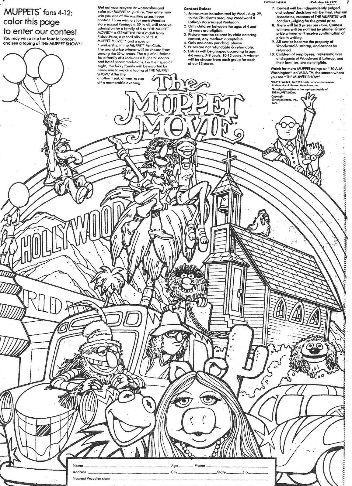 muppet movie coloring pages - photo#1
