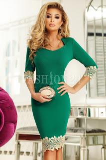 Rochie midi eleganta, verde, cu broderie aurie
