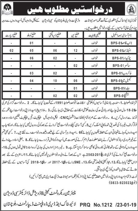 Jobs Vacancies In Livestock And Dairy Development Department Balochistan 24 January 2019