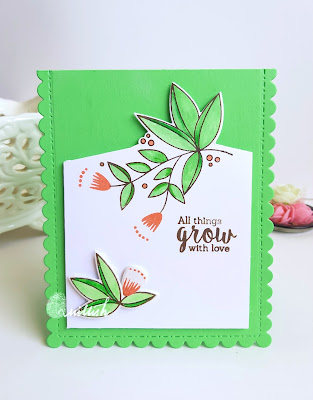 originally organic uniko stamp, zig clean color brush pen, cards by ishani, quillish, partial die cutting