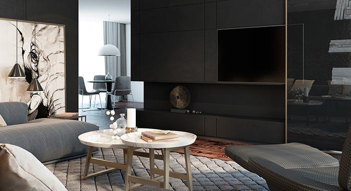 siyah tv konsolu ve oturma odası