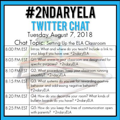 Join secondary English Language Arts teachers Tuesday evenings at 8 pm EST on Twitter. This week's chat will be about setting up the ELA classroom.