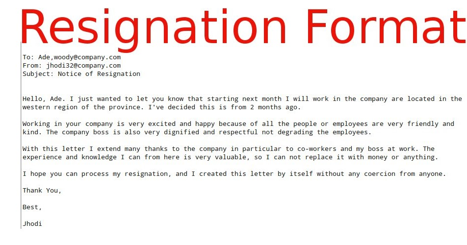 Good Resignation Email – Resignation Email
