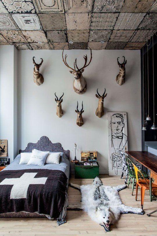 chambre avec trophées au dessus du lit