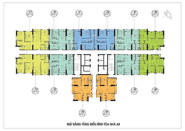 Mặt bằng tầng căn hộ điển hình tòa A8, An Bình City