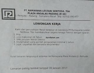 Lowongan Kerja PT. Ramayana Lestari Sentosa