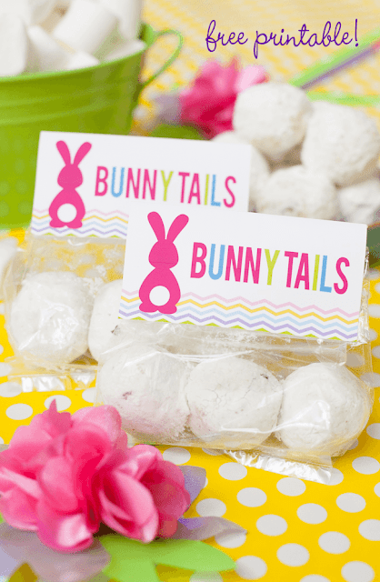 Easter printable bunny tails favor