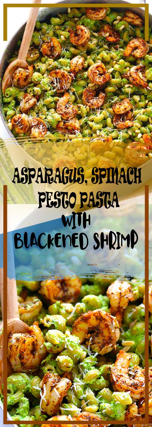 ASPARAGUS, SPINACH PESTO PASTA WITH BLACKENED SHRIMP RECIPE