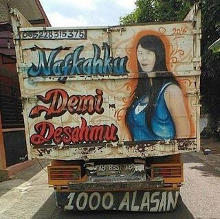gambar belakang bak truk paling lucu gokil keren