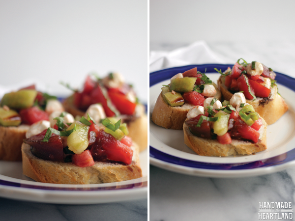 Heirloom Tomato Bruschetta, the perfect way to enjoy summer's bounty. HandmadeintheHeartland.com