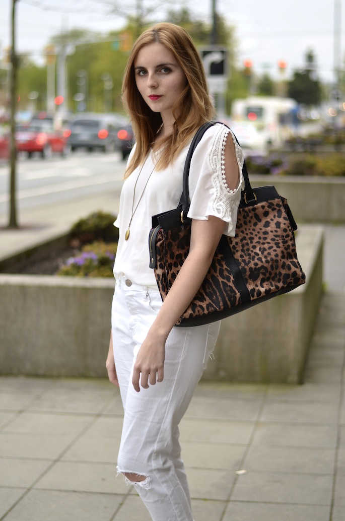 White eyelet blouse with shoulder cut-outs