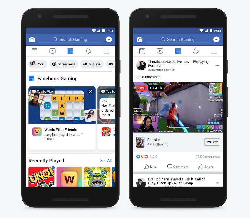 Facebook introduces dedicated gaming tab for mobile app users