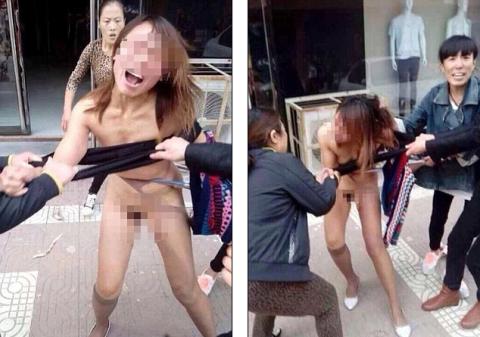 stripped public Woman in