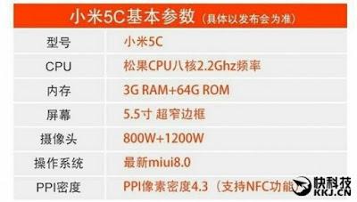 Spesifikasi Dan Harga Xiaomi Mi 5C Bocor!