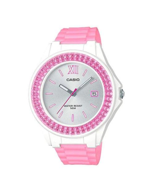 Reducere ceas Casio casual de femei alba cu bratara de silicon roz