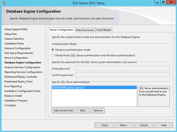 configure SQL Server Database Engine