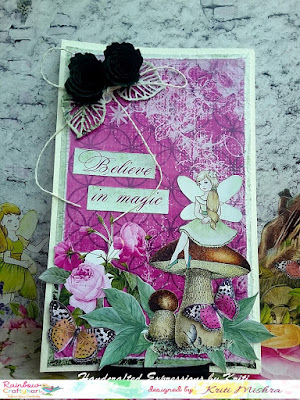 Shabby Chic Card with Handmade Flowers By GDT Kriti