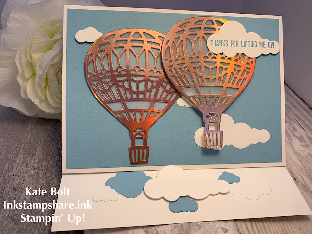 Hot air balloon thank you card, Stampin Up. Kylie's International Highlights