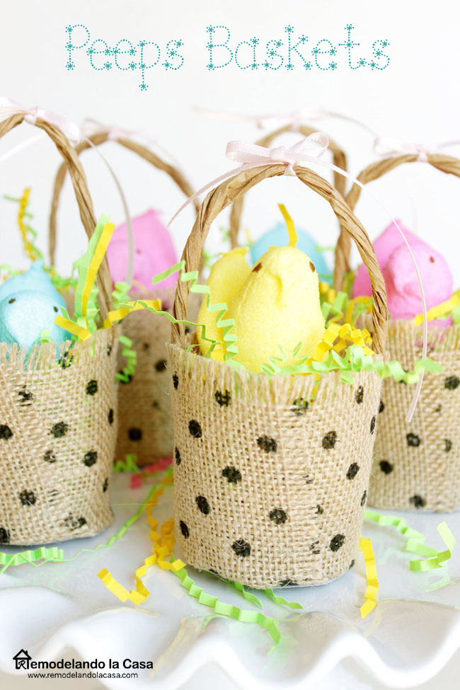 Burlap ribbon used to create peeps baskets