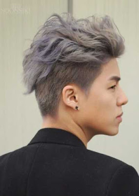 Model rambut undercut pria asia bleached white-purple top 0122478