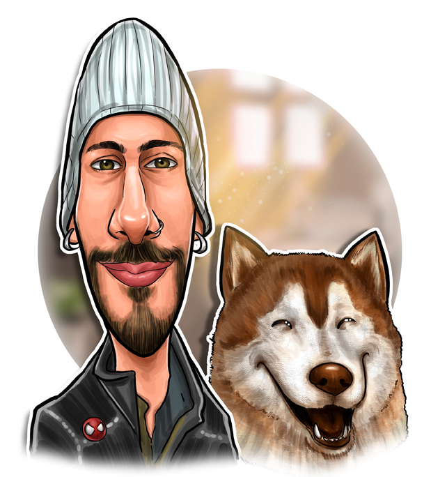 caricatura husky siberiano