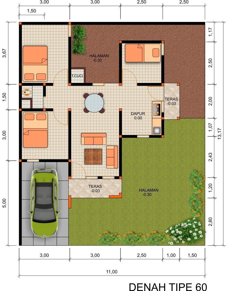 Kumpulan Desain Denah Rumah Minimalis Type 50 Kumpulan