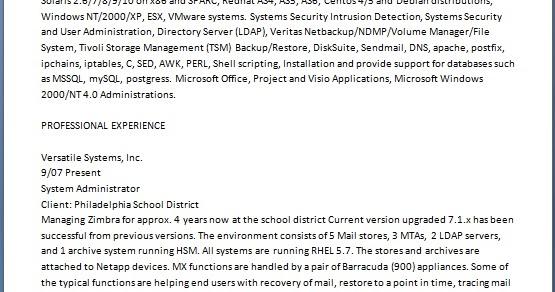 senior systems administrator resume sample 2017