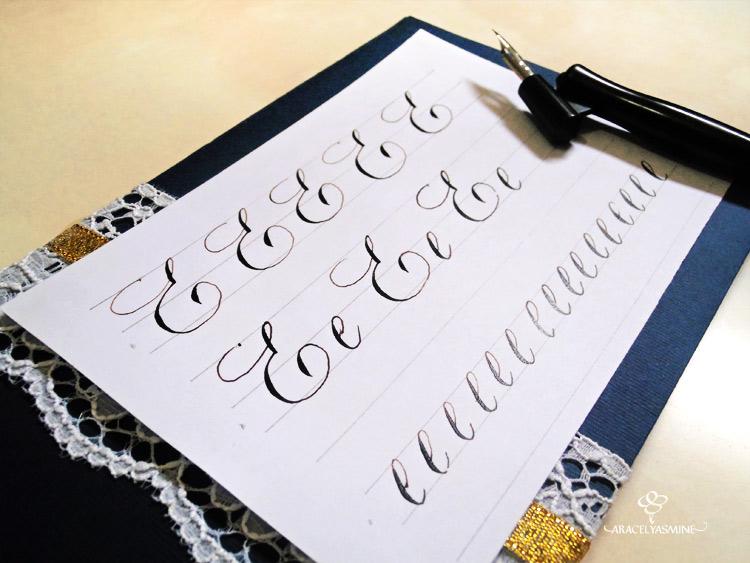 caligrafia copperplate como escribir la letra e abecedario