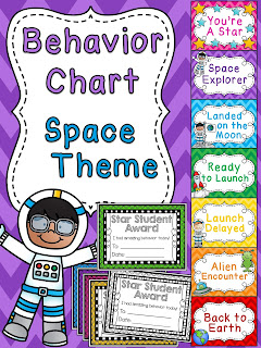 Space behavior chart for space theme classroom a bunch of other fun behavior clip charts!