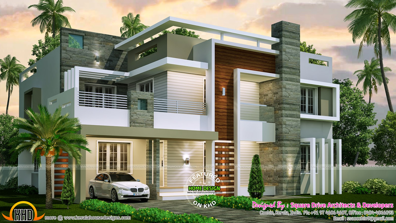 4 bedroom contemporary home design kerala home design for Small modern house plans with loft
