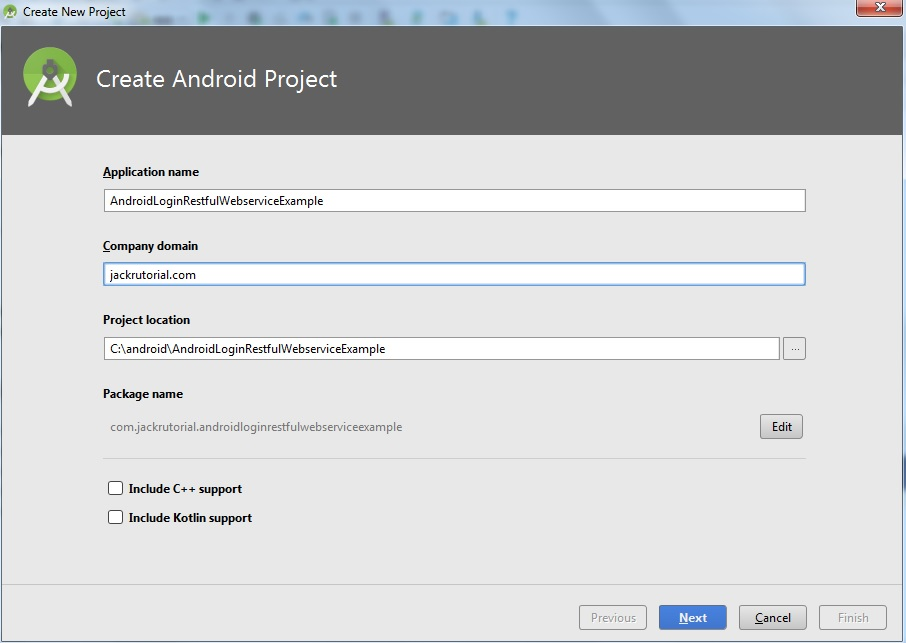 Create Android Project Screen